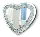RICHTOP Wandspiegel groß Herzförmig Rahmenlos Design, Schwarz Holz Backing, Silber Wand Schminkspiegel mit Glitzer Diamanten, Makeup Spiegel Wandmontage für Wohnzimmer, Flur, 50x60cm