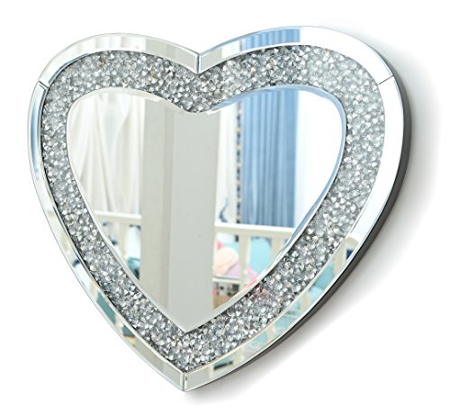 RICHTOP Miroir Murale Grand Moderne en Forme de Coeur Design mirroir Mural Bois Noir avec Diamant étincelant, Hung pour Salon, Chambres, Couloir 50cm x 60cm Argenté