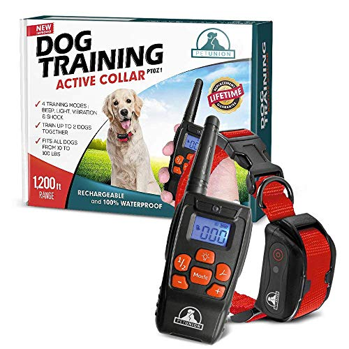 Pet Union PT0Z1 Premium Dog Training Shock Collar, Fully Waterproof, 1200ft Range (Red)