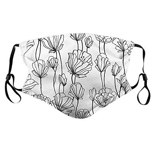 Sannysis Damen Mädchen Waschbarer Mundschutz mit Nasenbügel und Filtertasche Blumen 3D Gedruckt Multifunktionstuch Bandanas Sommer Atmungsaktiv Sport Stoff Schal