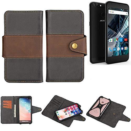 K-S-Trade® Handy-Hülle Schutz-Hülle Bookstyle Wallet-Case Für -Archos 55 Graphite- Bumper R&umschutz Schwarz-braun 1x