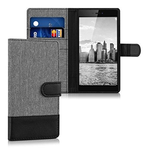 kwmobile Hülle kompatibel mit Huawei P8 - Kunstleder Wallet Hülle mit Kartenfächern Stand in Grau Schwarz
