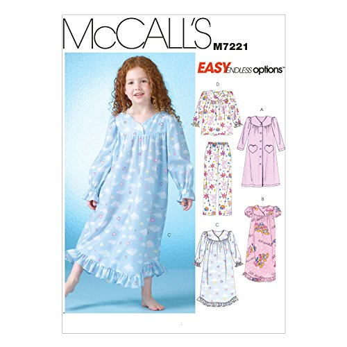 McCall's Patterns M7221 Children's/Girls' Robe, Gowns, Top and Pants Sewing Template, CDD (2-3-4-5)