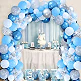 106 Pack Snowflake Balloon Garland Arch Kit Winter Wonderland Party Decorations Silver and Blue for Boy 1st Birthday Baby Its Cold Outside Baby Shower