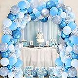 Kreatwow Arco de Globos de Copo de Nieve con Globos Azules y Plateados para el Primer cumpleaños de Onederland de Invierno, Decoraciones para Fiestas de Baby Shower o Fiestas de Baby Shower