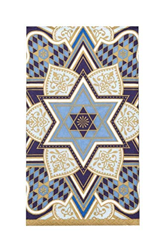 Design Design Judaica Decorative Paper Hand Towels for Bathroom Guest Towels Disposable, Party Napkins Jewish Holidays, Passover, Bar Mitzvah, Hanukkah Blue Pak 30