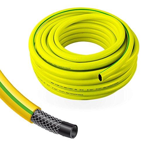 Stabilo-Sanitaer Profi Gartenschlauch Durchmesser: 19mm (3/4 Zoll) Länge: 50m | 3-lagiger Wasserschlauch Gelb | Qualitätsschlauch | Allzweckschlauch
