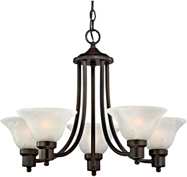 Design Classics Lighting Modern Style Bronze Hanging 5 Light Chandelier with Alabaster Glass Shades