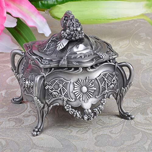 KUIMI Caja de Joyería, Joyería Vintage para Mujer, Joyero de Aleación de Zinc de Metal de Lujo, Joyero Tridimensional de Pie Alto de Estilo Europeo, Madre, Esposa,Silver-Style1