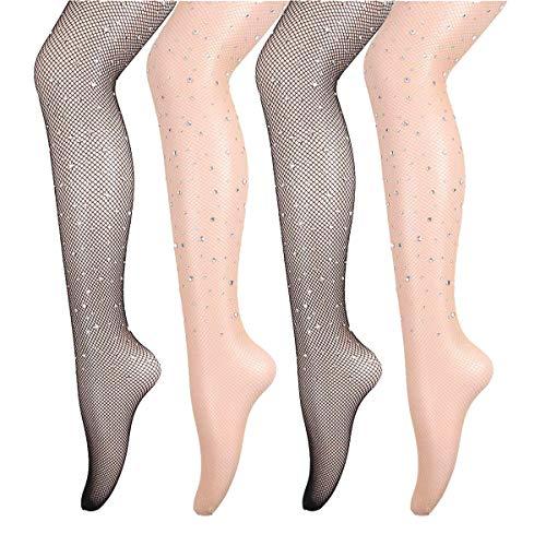 ANDIBEIQI 4 Paar Damen Netzstrumpfhosen mit Diamanten, Feinstrumpfhosen, Strumpfhosen Damen Mesh Strümpfe Frauen Fischnetz Netzstrümpfe Socken Strumpfe