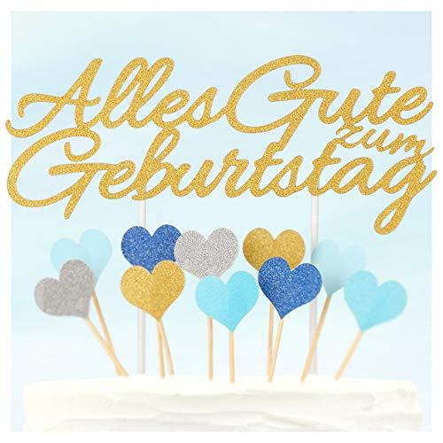 ecooe Alles Gute zum Geburtstag Kuchen Dekoration Happy Birthday Kuchenaufsatz Cake Topper für Baby Freunde Familie Glitter Gold Silber Blau Herzen Größe