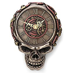 Veronese Design 8.1 Inch Steampunk Flat Skull Mechanical Gage Hanging Wall Clock Antique Bronze Finish Wall Sculpture