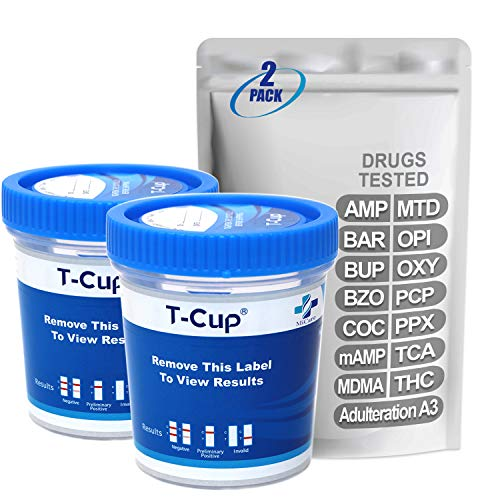 Great Price! MiCare [2pk] - 14-Panel Multi Drug Test Cup (AMP/BAR/BUP/BZO/COC/mAMP/MDMA/MTD/OPI/OXY/...