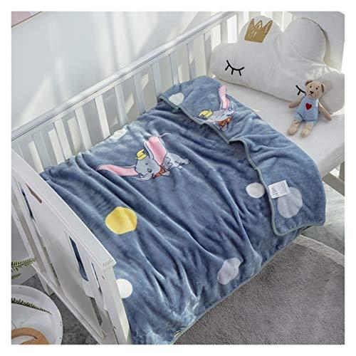 WanXingY Cartoon Dumbo weiche und warme Korallen-Fleece-Decke Babybett-Geburtstagsgeschenk Große Decke Wurf-Blätter auf Baby-Mädchen-Dumbo-Decke (Farbe : Dumbo, Size : 100x120cm)