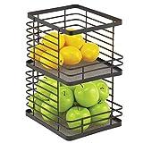 mDesign Recipiente de cocina para fruta – Fruteros de cocina apilables con...
