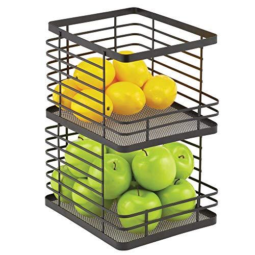 mDesign Recipiente de cocina para fruta – Fruteros de cocina apilables con abertura frontal – Cesta de metal ideal para guardar pan, hortalizas, snacks y mucho más – Juego de 2 – negro mate