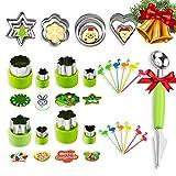 BSET BUY 33 Stück Gemüse Ausstechformen,Edelstahl Cookie Plätzchen Ausstecher für Kuchen, Keks, Sushi, Obst, Gemüseschneider Set -20 Ausstecher +1 Doppelzweck Melonenausstecher + 12...