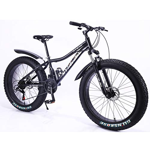MYTNN Fatbike neues Style 26 Zoll 21 Gang Shimano Fat Tyre Mountainbike 47 cm RH Snow Bike Fat Bike (schwarz)