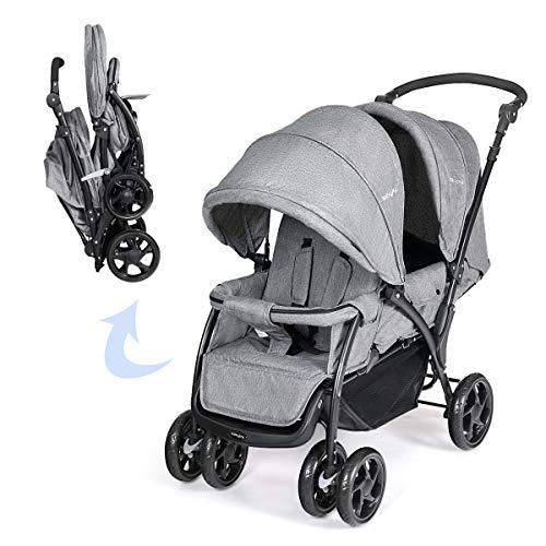 DREAMADE Geschwisterwagen 2 in 1, Doppelkinderwagen Faltbar Zwillingswagen Puppenwagen, Kinderwagen Babywagen mit Doppelsitz, Reisebuggy für Geschwister, Grau
