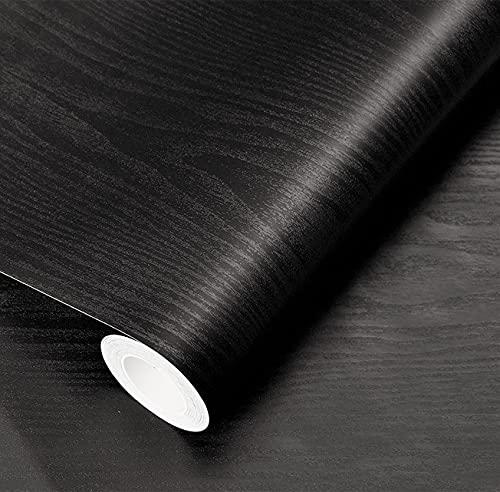 17.71' x400'Black Wood Wallpaper Peel and Stick Film Black Contact Paper Self...