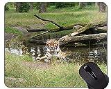 Yanteng Alfombrilla de ratón Jungle Tigers Cub, Alfombrilla de ratón Tiger con Bordes cosidos