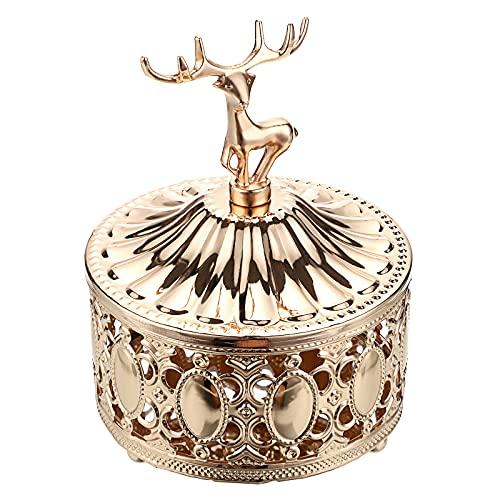 SUMTree - Joyero de metal con tapa en forma de ciervo decorado calado organizador de accesorios para anillos, pendientes, collares (dorado)