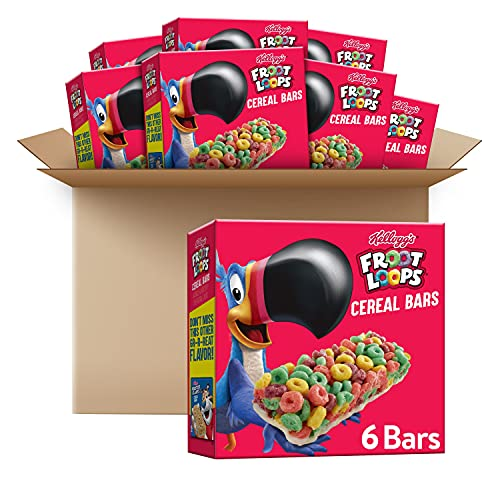 Kellogg's Froot Loops Cereal Bars, Original, On The Go Snack Food, 4.2oz Box, (Pack of 8-total 33.6...