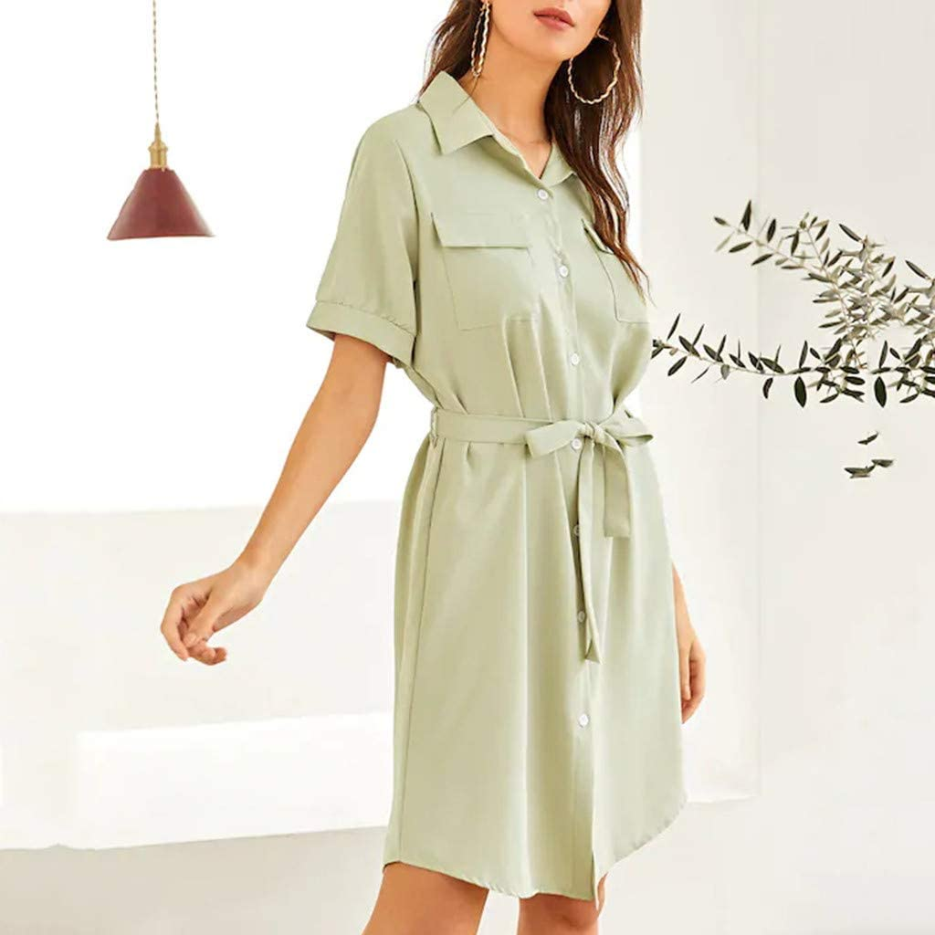 Women's V-Neck Lapel Elegant Office Work Business Dress Ladies Solid Mini Dresses with Belt (S, Green)