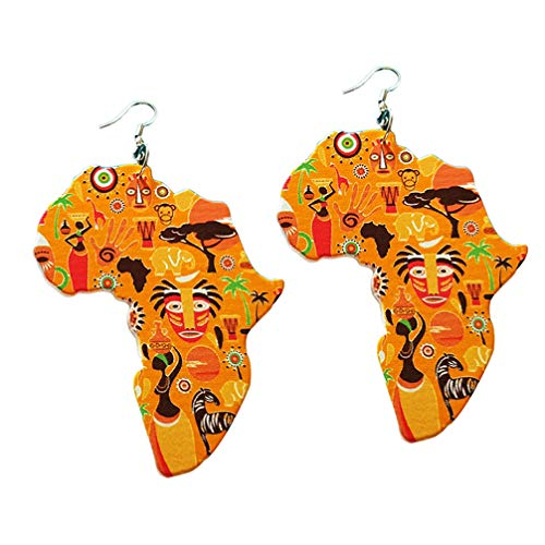 Toporchid Ethnic Women Earrings Natural Wooden African Original Eco Animal Painted Pattern Pendant Earrings Gifts(color4)