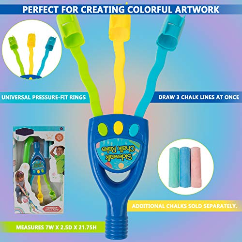 Kids Chalk Rake � Sidewalk Art Chalk Drawing Multiple Lines Tool Toy For Boys And Girls � Extended Handle With 3 Jumbo Oversize Chalks Photo #4
