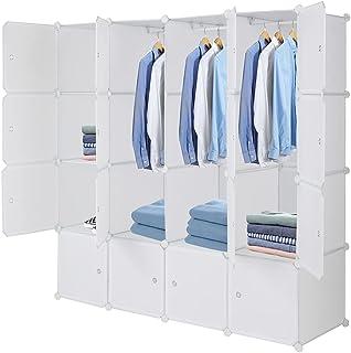 Alightup Armoire Penderie Portable 16 Cube, avec Tige Suspendue et Portes, pour Vêtements, Chaussures, Accessoires (Blanc)