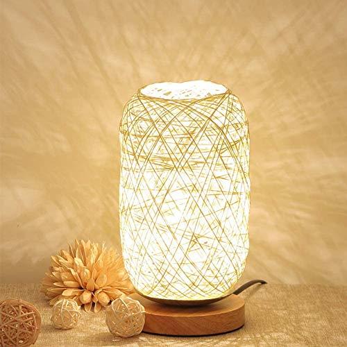 Houten rotan tafellamp, twin-bal licht met LED-lamp USB Powered slaapkamer nachtlampje voor wooncultuur Valentijnsdag verjaardagscadeau