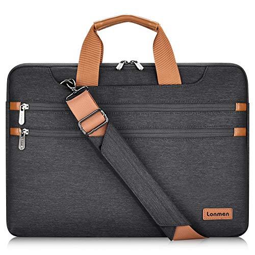LONMEN 14 Zoll Laptop Hülle Wasserdicht Schultertasche Tasche Kompatibel mit 15