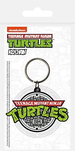 Pyramid International Turtles Retro Logo rubberen sleutelhanger, meerkleurig, 4,5 x 6 cm