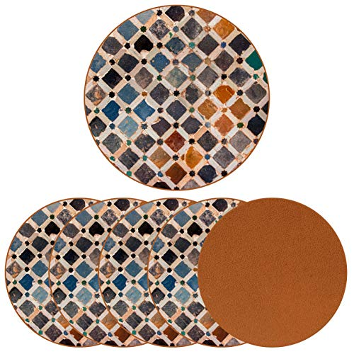 Sottobicchieri rotondi da 6 pezzi - sottobicchieri decorativi per tazze e tazze decorazione delle mattonelle Alhambra palazzo Spagna
