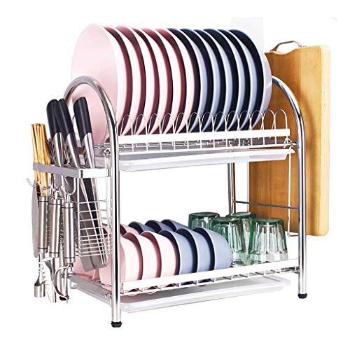 KMMK Household Kitchen Storage Shelf,Stainless Steel Double-Layer Drain Dish Rack Kitchen Storage Storage Rack 55.5 × 27 × 44.5Cm.