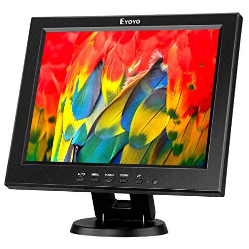 Monitor HDMI Eyoyo de 12 pulgadas con entrada BNC VGA AV HDMI 800 x 600 portátil 4: 3 TFT LCD Mini pantalla Color HD con altavoz integrado