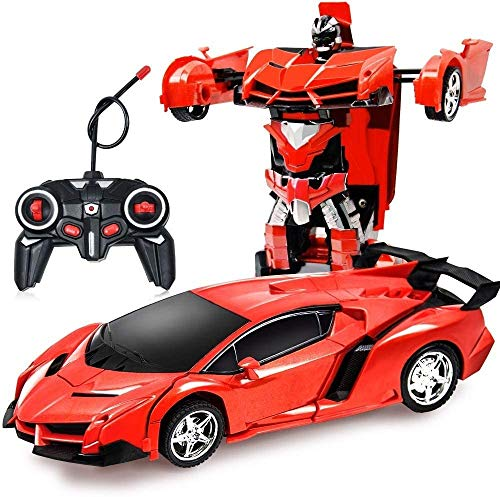 KRCT 1:18 Coche de Control Remoto Transformar Robot Recargable 360 ° de rotación de Deriva RC Racing vehículo con Motor de Sonidos realistas de 2,4GHz de Radio Control de Coches de Juguete for niños