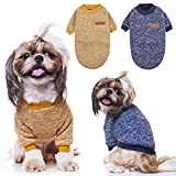 Dog Sweater Winter Clothes 2 Pack - 2 Colors Soft and Warm Suitable for Tiny Small Medium Dogs Puppy Pet Fall Sweaters Fashionable