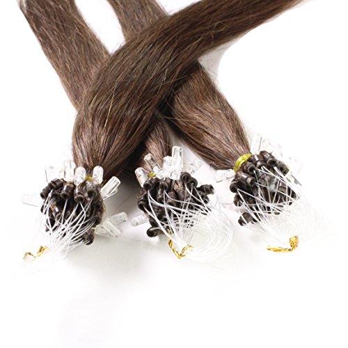 Hair2Heart 25 x 0.5g Microring Loop Extension Capelli Veri - 40cm - Liscio, Colore #4 marrone cioccolato
