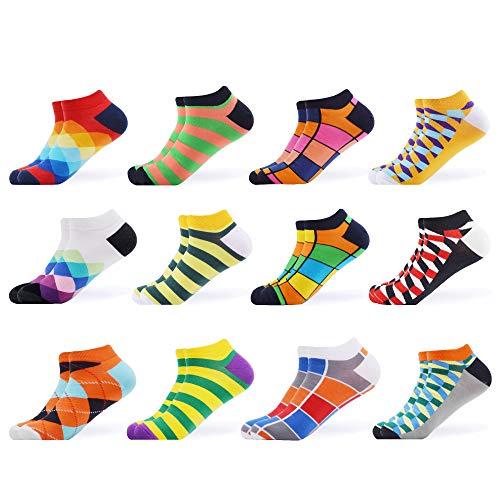 WeciBor Calcetines cortos Hombre Estampados Hombres Ocasionales Calcetines Divertidos Impresos de Algodón de Pintura de Arte Calcetines Verano Tobillo Calcetines de Colores de moda (ESB052-20)