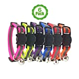 Christmas Offer - Reflective Cat Collar with Bell, Set of 6, Solid & Safe Collars for Cats, Nylon,...