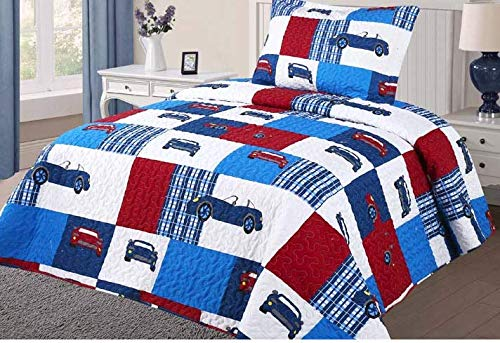 Golden Linens Twin Size 2 Pieces Quilt Bedspread Set Kids New Designs for Boys & Girls (Cars -06)