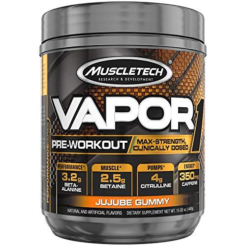MuscleTech Pre Workout Powder Vapor One Preworkout for Men & Women + Builder Creatine Monohydrate + Beta Alanine + Betaine HCL, Jujube Gummy 20 Servings, 15.82 Oz