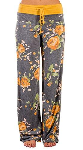 AMiERY Pajamas for Women Women's High Waist Casual Floral Print Drawstring Wide Leg Palazzo Pants Lounge Pajama Pants (Tag S (US 4), Yellow)
