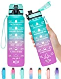 Elvira 32oz Motivational Fitness Sports Water Bottle with Time Marker & Removable Strainer,Fast Flow,Flip Top Leakproof Durable BPA Free Non-Toxic-Green/Purple Gradient