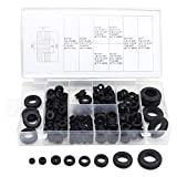 Aussel Goma de caucho negro Surtido de anillos de junta eléctrica para la protección de alambres y cables 180 Piezas (180PCS)