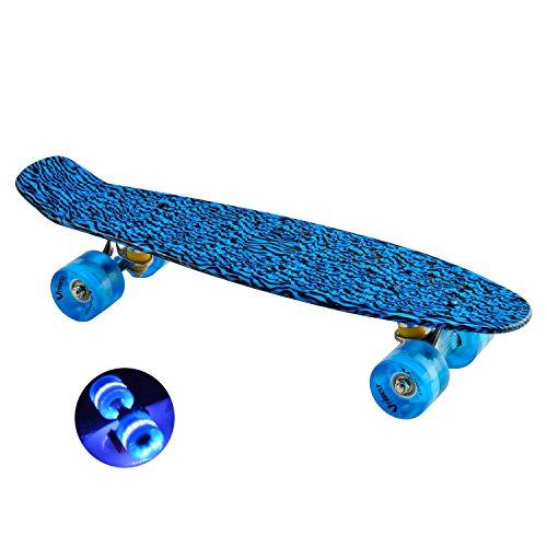 Unibest Skateboard Mini Cruiser Board Rollbrett Retro-Board 55x14cm mit LED Leuchtrollen - blau