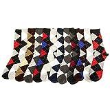 12 Pairs Assorted Men Dress Argyle Socks Diamond Shape Size 10-13