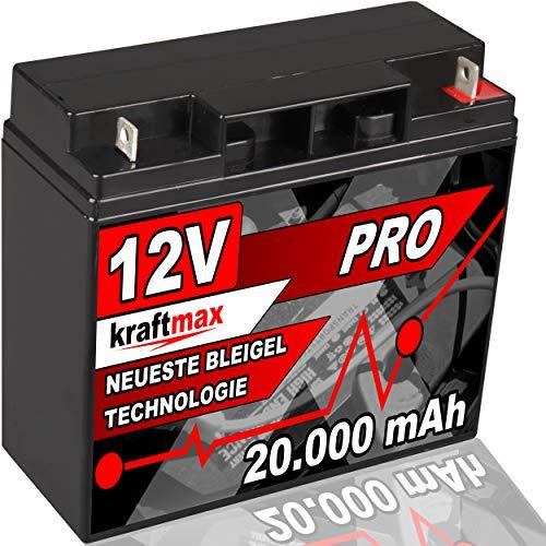 kraftmax Industrial Pro Bleiakku [ 12V / 20Ah ] AGM Hochleistungs- Blei Akku der Neusten Generation